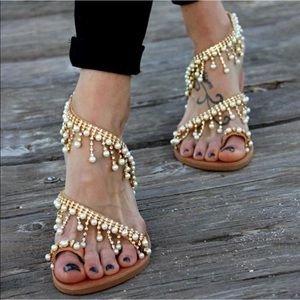Women Leather Sandals Casual Pearls Daily Shoes 11
